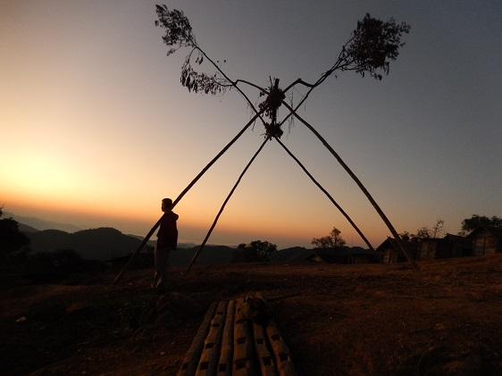 Laos Village Swing at Sunrise